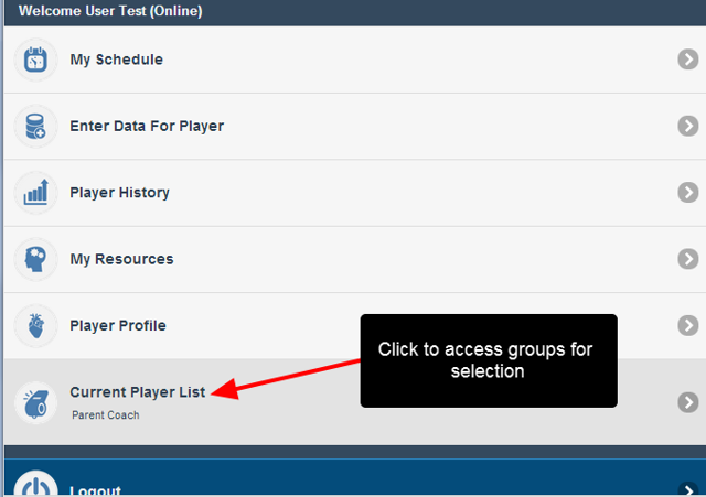 To change groups again, click on the Current Player List and make a different selection