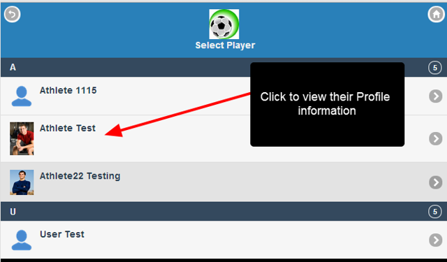 Click on Player Profile, and then click to select the athlete that you want to edit/view the profile data for