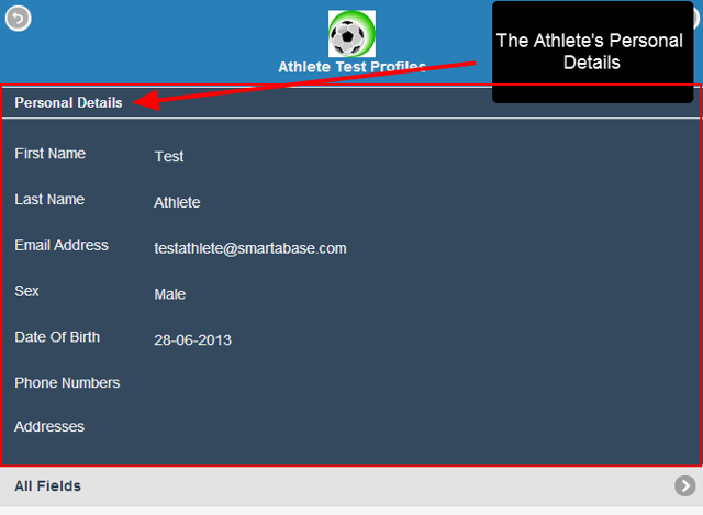 At the top of the Profiles Page,the athlete's Personal details will always