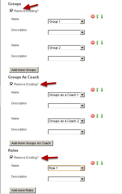 """Map the new Groups, Groups as a Coach and Roles over correctly. Tick the """"Remove Existing?"""" box if you want to remove the existing groups/roles or groups as a coach that the users are currently in."""
