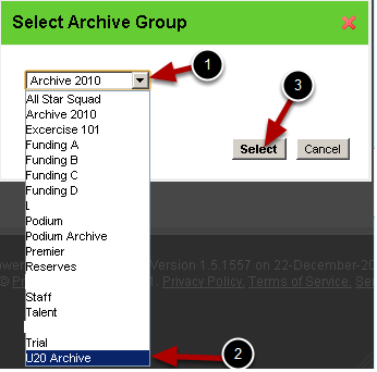Select the Group that you want to send the athlete to (e.g. an Archive Group or Archive Subgroup)