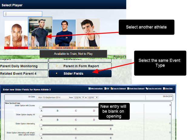 Select to enter in the same Event Form, for the same athlete, or for another athlete (as shown here)