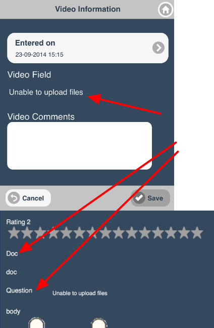Users cannot upload any new images, or videos or documents on the iOS application online or offline.