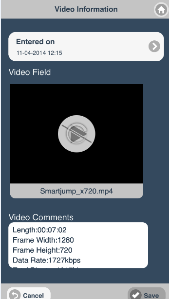 Existing video uploads will appear with the file name