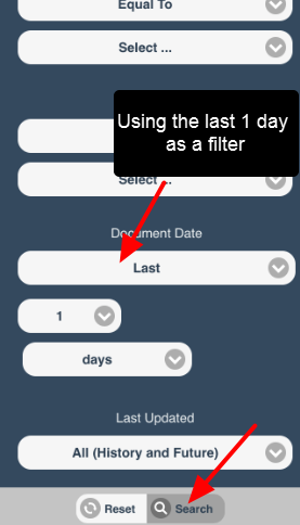 Use the filter criteria required (e.g.category, file type etc.) and click search