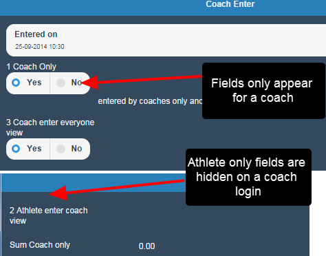 Coach Only field visibility fields appear for coaches