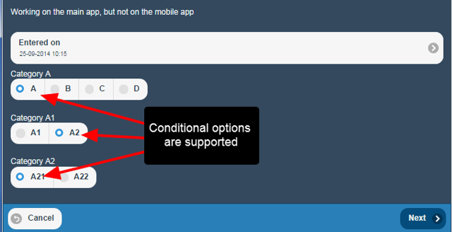 Conditional options are supported on iOS