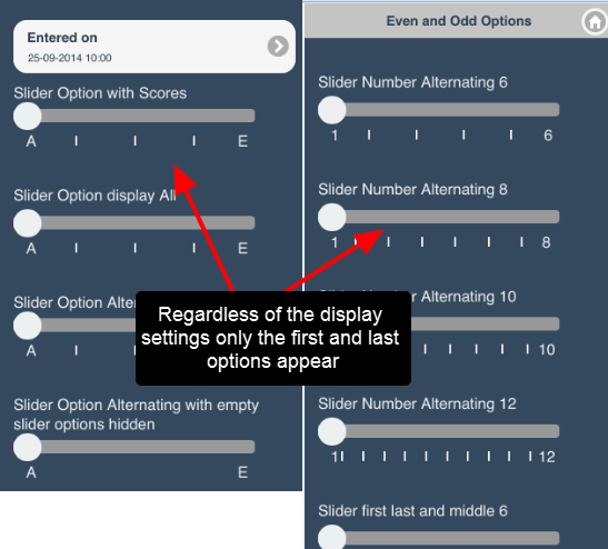 Additional examples of ONLY the first and last option showing on an iPod/iPhone (regardless of the display settings)