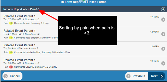 Filters on In Form Reports are supported