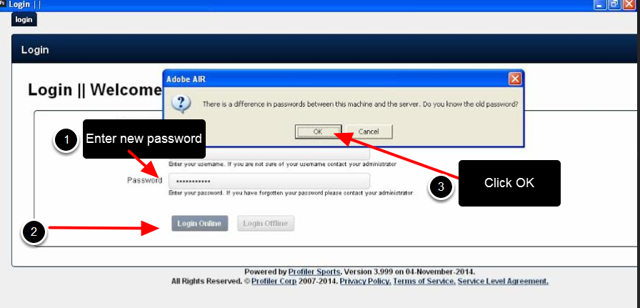 If you changed the password online and you use the installed version, please ensure you load the installed version to update the password to the local desktop database