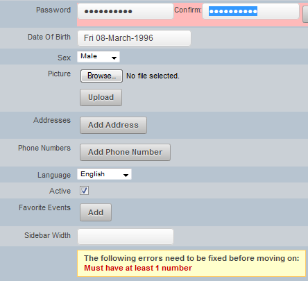 """If a number is not included as part of the password, the """"at least 1 number"""" error message will appear"""