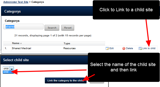 """Click on the """"Link to Child"""" to link this Category to a Child site."""