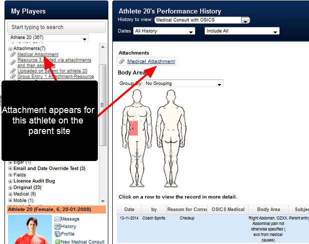 On the Parent site the newly uploaded Attachment appears in the form's history and in the sidebar