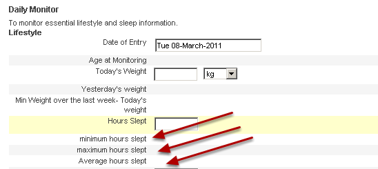 Other types of historical calculation used include setting a maximum, minimum and mean of a value over a specific time period (e.g. sleep over the last month)