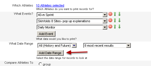 Select the dates, time period or number of entries you want to include in the report (you can choose multiple date ranges)