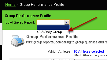 Save reports are accessible at the top of the Group Performance Profile Page
