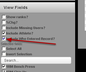 """To run a report and hide the """"by"""" column (who entered the record on the system) go to the View Fields (bottom left of the page) and deselect """"Include Who Entered Record?"""""""