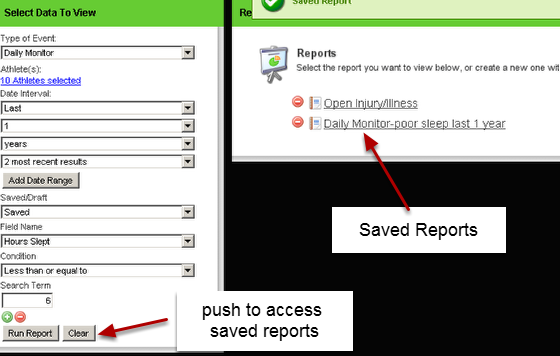 2.2 When you first come to your reports page, or if you click clear, the report name will appear for you to click on and run
