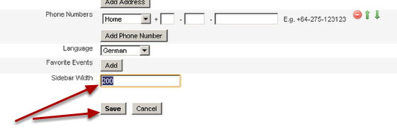 At the bottom of your account information you can specify Sidebar width... this is in pixels, NOT cm!!