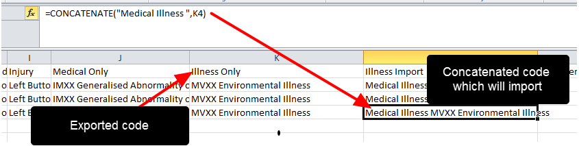 To ensure the Illness Codes import correctly, you need to add in Medical Illness to the exported codes.