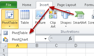 "To Add in a pivot table, click on Insert and select ""Pivot Table"""