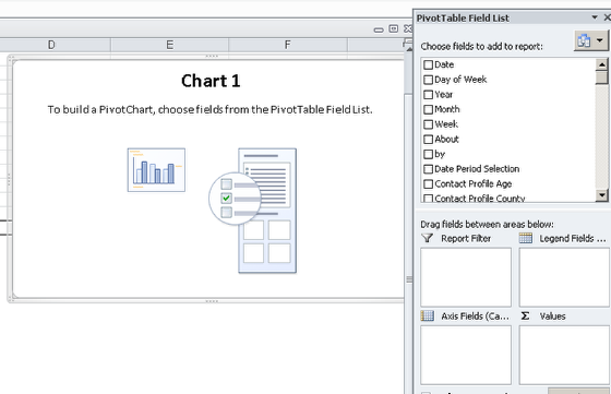 "Choose the data you want to chart... use the ""Formulas"", click on ""Use in Formula"" and then select to use all of the data from the exported sheet (e.g. _All_ name_Report) as you did for the pivot table"