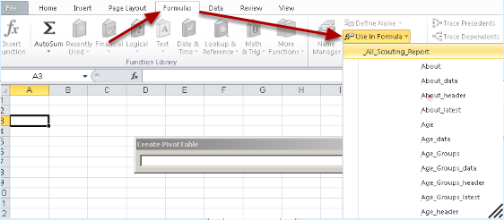 "Go to ""Formulas"", click on ""Use in Formula"" and then select to use all of the data from the exported sheet (e.g. _All_ name_Report)"