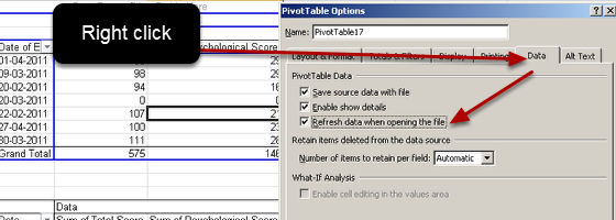 You MUST right click on the pivot table and select Refresh on Opening (then save this setting) for the pivot table, or the data will not refresh when you open it.