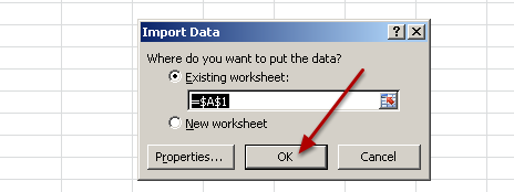"Now you can select where you want the data to import to (e.g. the sheet and page location) and you need to import them to Sheet 1 and click ""OK""."
