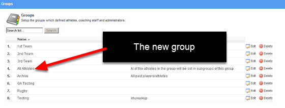 Once you have set up the group all of the athletes and coaches and subgroups will be saved. The list will appear on the groups list and when you look at an athlete or a coach you will see they now have this group on their user information (see the two steps below)