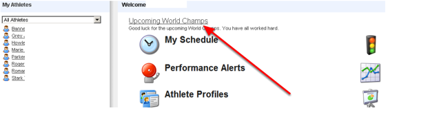 An example of the Message as it Appears on the Home Page for the coach of the World Champs athletes