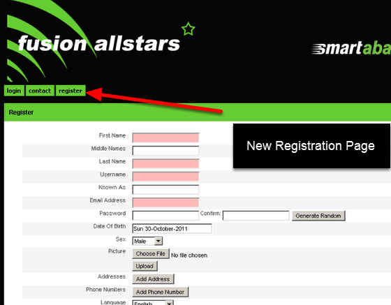You can now set up User Registration Pages to appear on your Site for Public Registration
