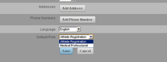 There is a default role section that also shows on the registration page. If you have set up a Default Role/s then the user can select one of these before they click save.