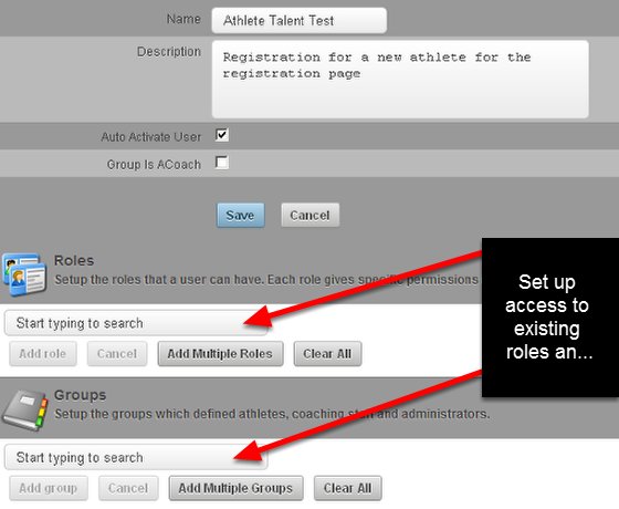 After you select Save, a Group and Role boxes appear for you to set up the access for newly Registered Users