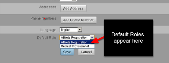 To set up Default Roles that appear on the Registration Page, you need to create these on the Administration Site