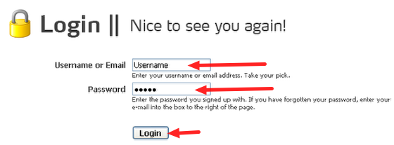 Type in Your Username and Password in the Login Page