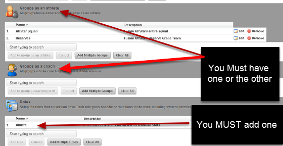 """Once you click """"Save"""" additional boxes appear for you to add the new user into an existing Role/s and into an existing Group as a coach or into a Group as an athlete"""