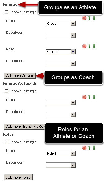 If you set up Groups as an Athlete, Groups as a Coach, and Roles map these fields across as well in the correct area. You can import an athlete or coach into multiple groups and roles, by clicking on Add more Groups, Groups as a Coach or Add more Roles