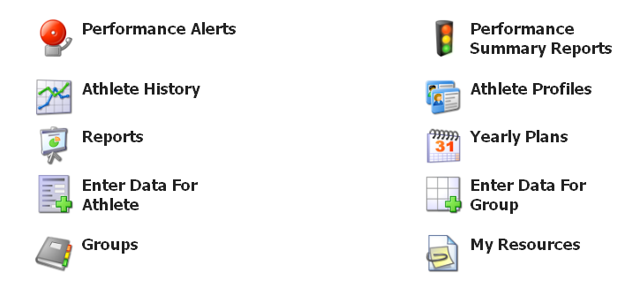 Roles allow you to assign the System Permissions (such as the Performance Alerts and Athlete History buttons shown here), through to Data Permission Access