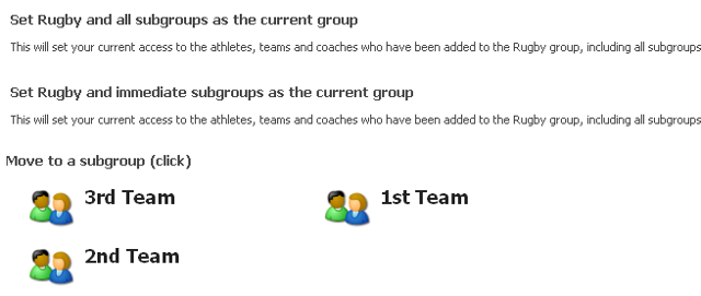 Groups: set access and athlete structure