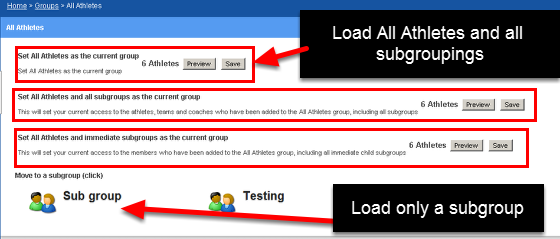 "On the actual site when you look at the group ""All Athletes"" Group you can see that the ""Sub group"" group is a subgroup that can be loaded as part of the All Athletes Group or as it's own group"