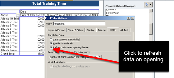 Ensure you select Refresh data when opening the file (or the data will not update) and click OK