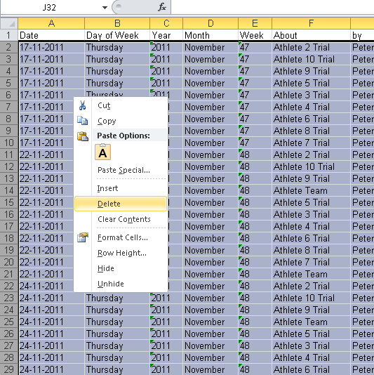 Delete the Data on the Worksheet tab (as shown here) and Save the Excel worksheet. Then upload the template back into the Excel Reports Page on the system (see the step below).