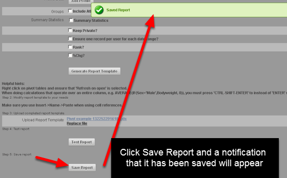 """After you have tested the report, you must click """"Save"""". Remember, you cannot edit it again once you Save it and click out of this page so ensure it it formatted correctly (the pivot table, page layout etc)."""