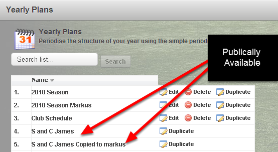 Now, you and other users can select to share your Yearly Plan templates so other can access and apply them. The image here shows two Yearly Plans that have been shared on this system.