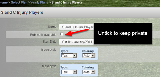 You can select to Unshare your plan at any stage by ticking the Publically Available tick box.