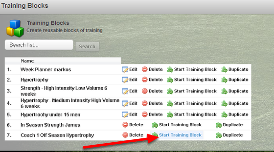 Shared Training Blocks can be applied to their athletes.