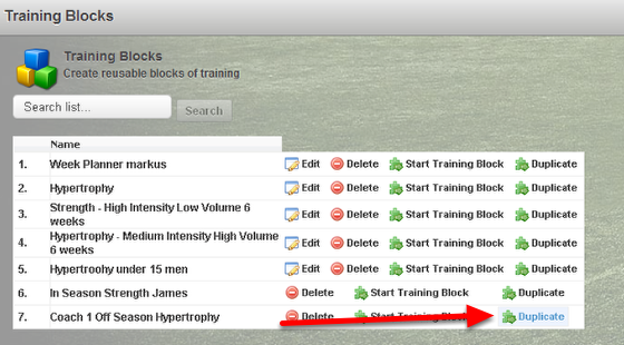 The user can copy the existing Training Block by clicking Duplicate