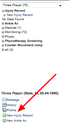You can also access Profile data for a specific athlete using the sidebar if you have access to it