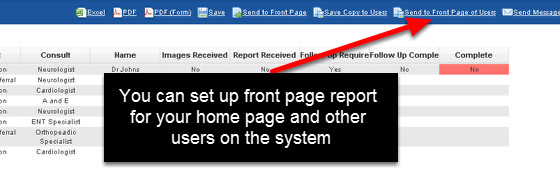 3.0 Shared Front Page Reports: Sharing Reports that appear on the Home Page of other users on the system. These can be set up for Professionals and Athletes